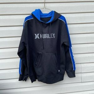 Hurley Mens Large Pull Over Hoodie Black Blue